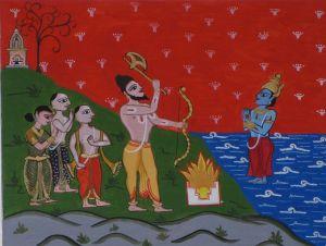 Parasurama pidiendo a Varuna, dios de las aguas, que retroceda y deje al descubierto la tierra de Kerala
