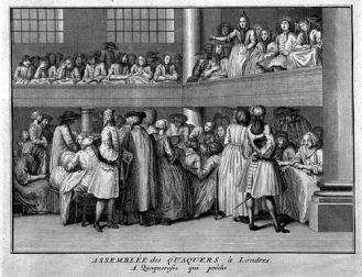 Asamblea de cuáqueros. Una predicadora en acción.  Bernard Picard, 1723